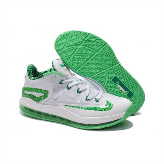 c945d9a3716 Mens Nike LeBron 11 Low White Green - Cheapest Nike Factory Store