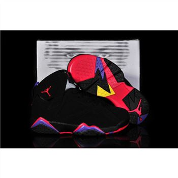 Kids Air Jordan Shoes 7 Black Rose Purple Yellow