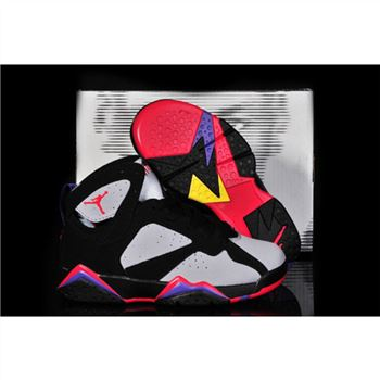 Kids Air Jordan Shoes 7 White Black Red Purple
