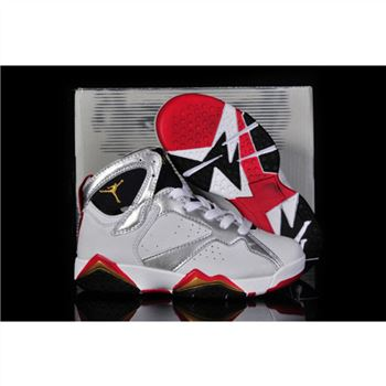 Kids Air Jordan Shoes 7 White Silver Red Black Gold