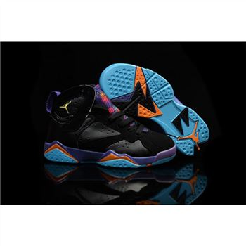 Kids Nike Air Jordan 7 Retro Black Purple Blue