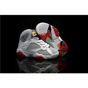 Kids Nike Air Jordan 7 Retro White Grey Red
