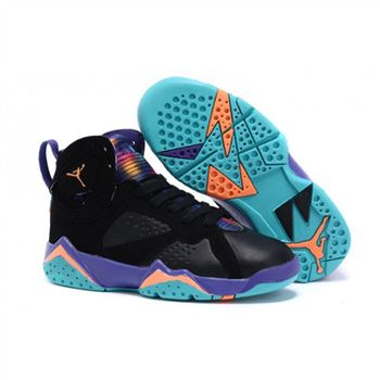 Kids Nike Air Jordan Retro 7 Black Orange Blue Pueple