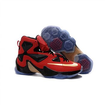 Mens Nike Lebron James 13 Red Black Gold