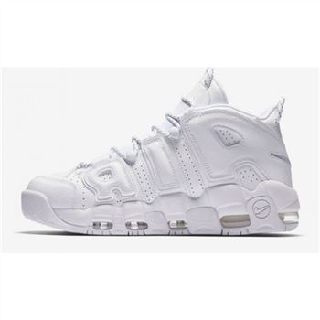 Mens Nike Air More Uptempo All White Shoes