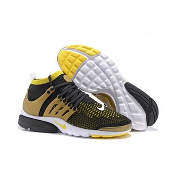 Men Nike Air Presto Flyknit Ultra Shoes Black Yellow White