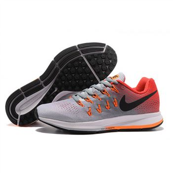 Mens Nike Air Zoom Pegasus 33 Shoes Gray Red Orange