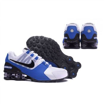 Mens Nike Shox Avenue Shoes White Blue Black