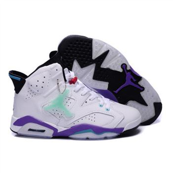 Air Jordan 6 Retro Mens Noctilucent tags Shoes White Purple