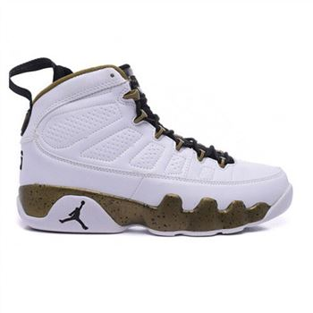 Authentic 302370-109 Air Jordan 9 Retro White/Black-Militia Green