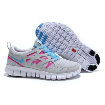 Womens Free Run 2 Shoes Light Gray White Blue