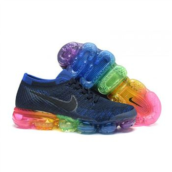 Womens Nike Air VaporMax Flyknit Black Blue Shoes