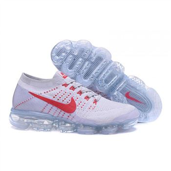 Womens Nike Air VaporMax Flyknit White Red Shoes