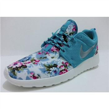 Womens Nike Roshe Run Liberty Floral Running Shoes Blue Silver