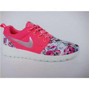 Womens Nike Roshe Run Liberty Floral Running Shoes Red Silver