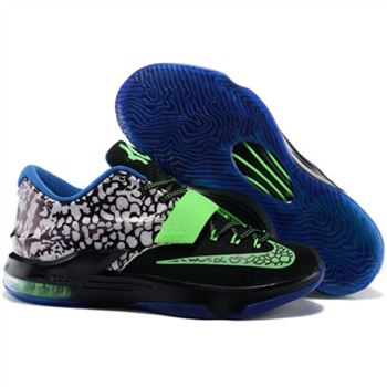 Mens Nike KD 7 Basketball Shoes Black Green Blue White