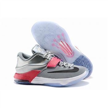 Mens Nike KD 7 Basketball Shoes Silver Grey Red
