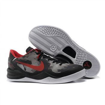 Mens Nike Kobe 8 Black Grey Red